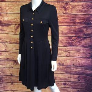 Tory Burch Navy Silk Long Sleeve Collar Logo Dress